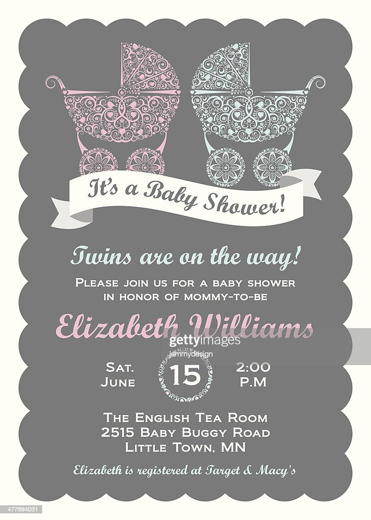 Twins baby shower invitation vector art getty images twins baby shower invitation vector art stopboris Gallery