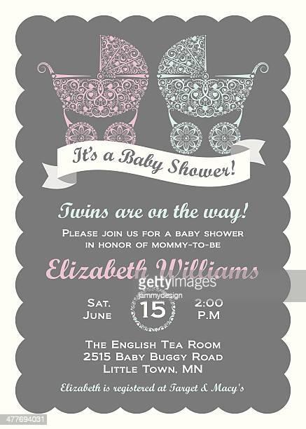 stockillustraties, clipart, cartoons en iconen met twins baby shower invitation - gekarteld