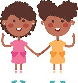 Twins happy kids holding hands boy and girl vector illustration