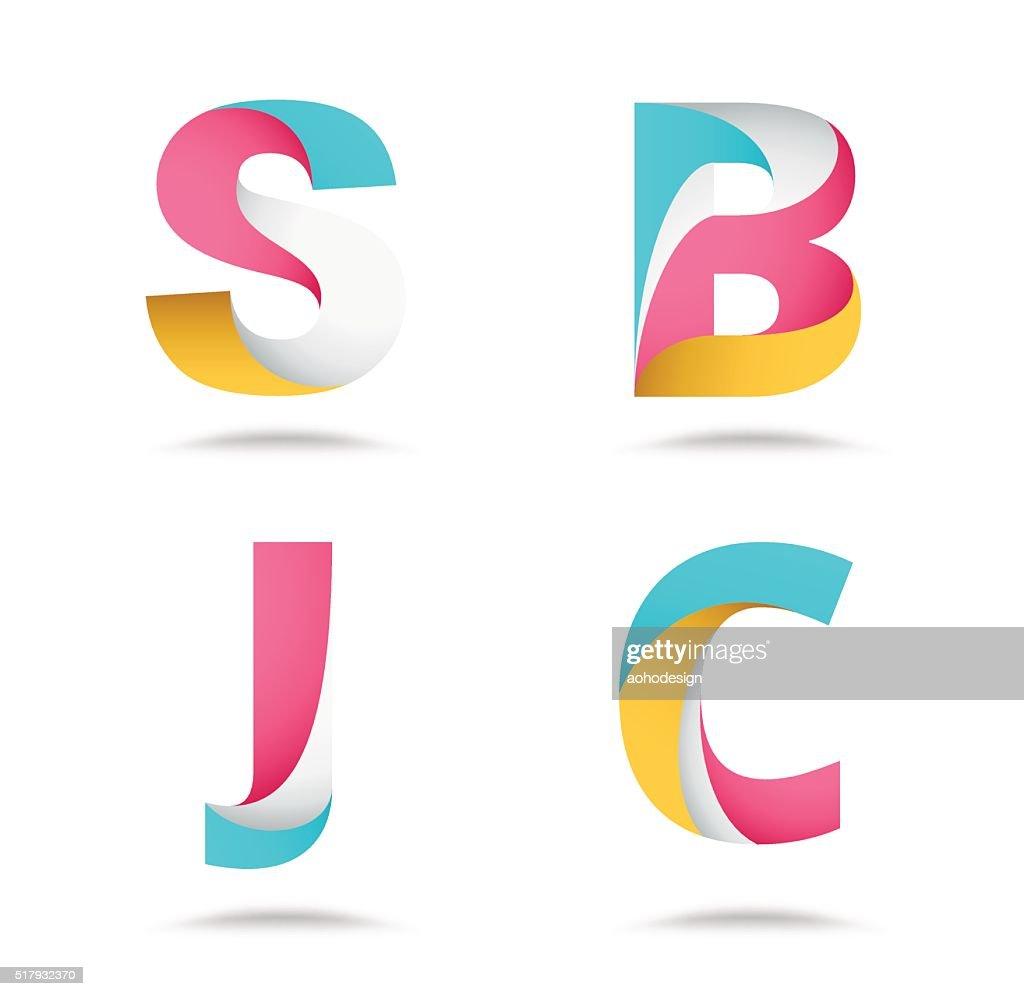 Twist material alphabet logo design. vector stock