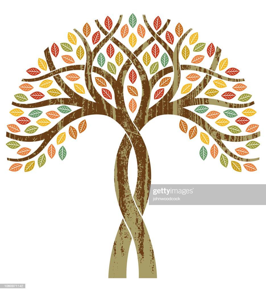 Twisted fall tree illustration : stock illustration
