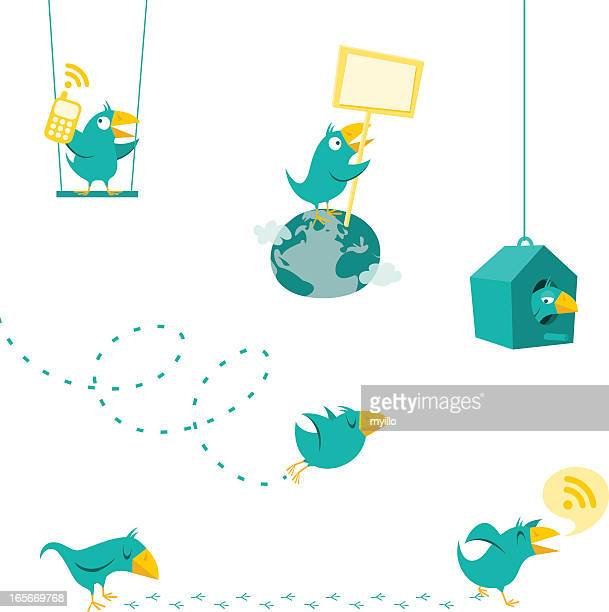 Twitter bird displaying the multiple functions of Twitter