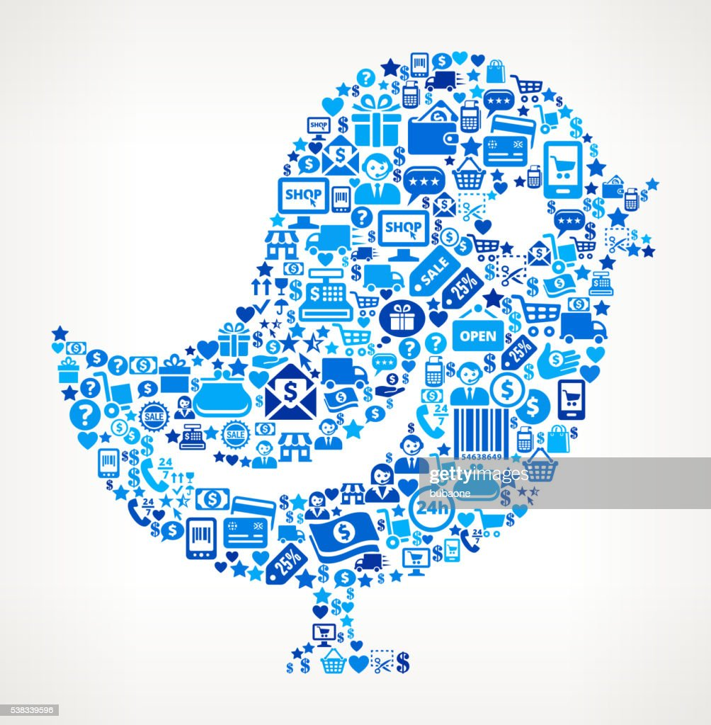 Twitter Bird Shopping and Commerce Blue Icon Pattern