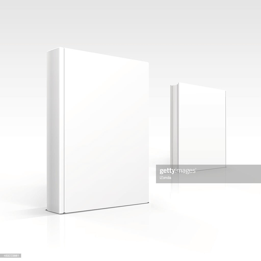 Two 3D renderings of blank white books over white background