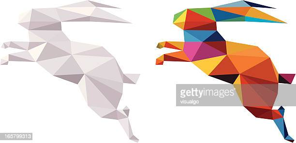 Two abstract geometric rabbits in white and in color