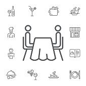two abstract people sitting at a table.Simple Set of restaurant Vector Line Icons.