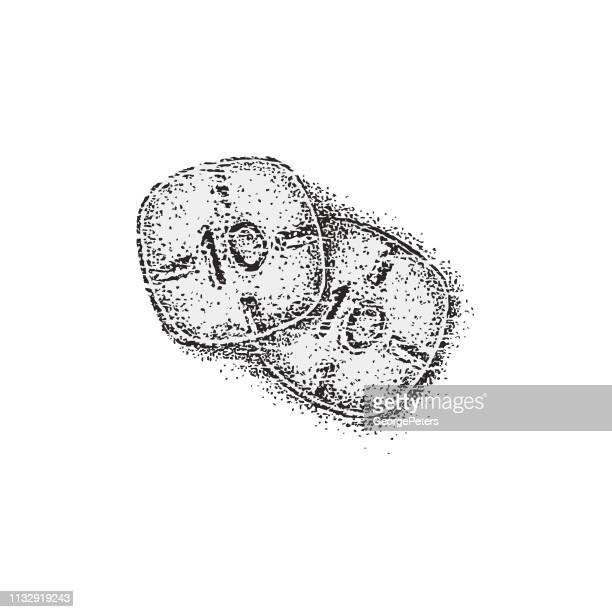 two adderall pills with grunge effect - methamphetamine stock illustrations, clip art, cartoons, & icons