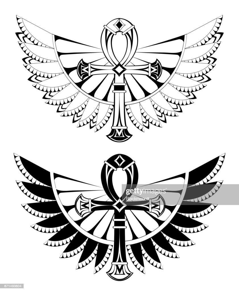 Two ankhs with wings