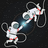 Two astronauts with tethers reaching to each other in space. Romantic scene, connection.