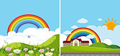Two background scenes with rainbow