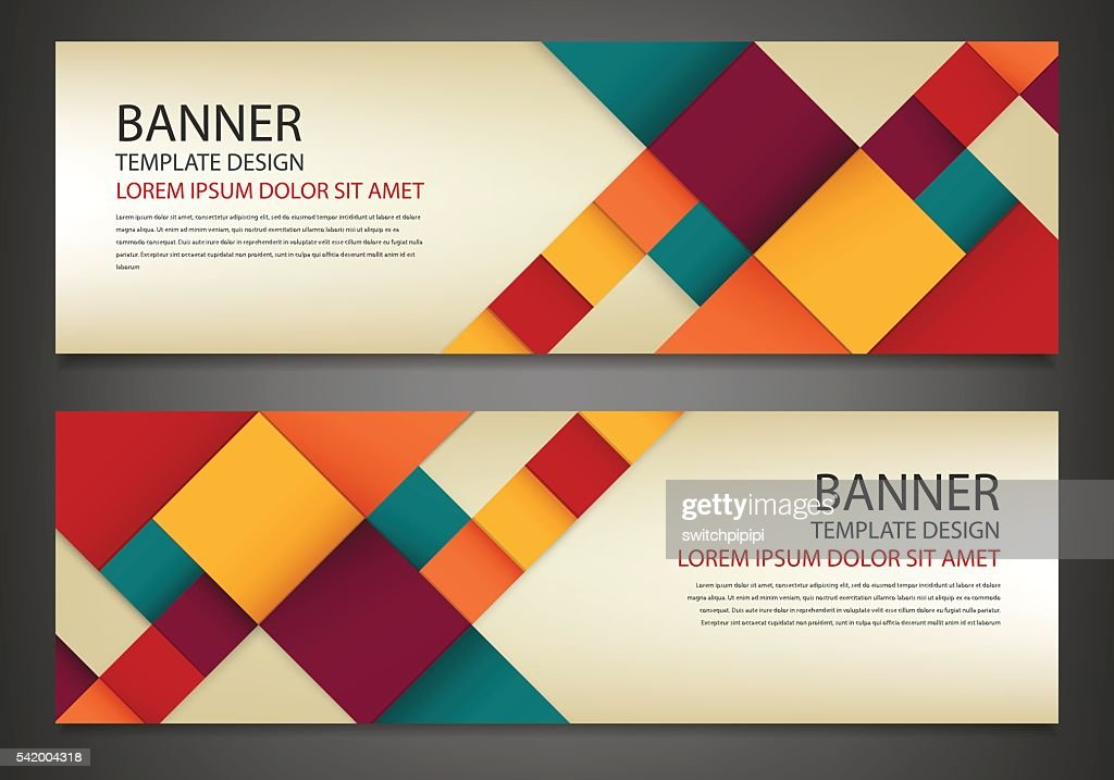 Two banners with colorful squares. Business design template.