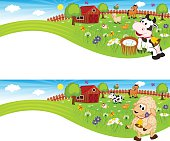 two banners with farm animals in barnyard