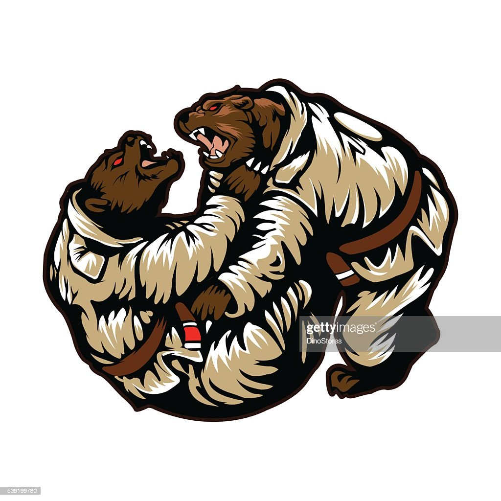 Two bears fighting.