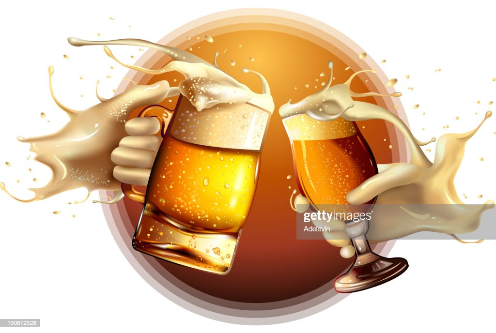 Two beers being toasted : stock illustration