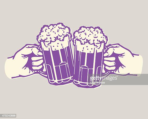 two beers cheer - stag night stock illustrations, clip art, cartoons, & icons