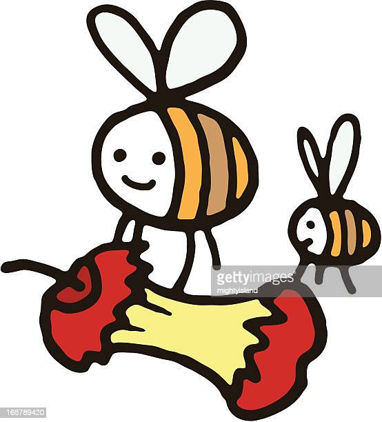 two bees carrying an apple core - imagem a cores stock illustrations
