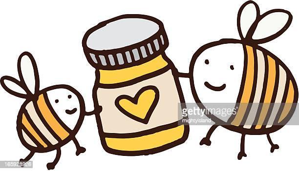 bildbanksillustrationer, clip art samt tecknat material och ikoner med two bees holding a jar of honey with love heart - bumblebee