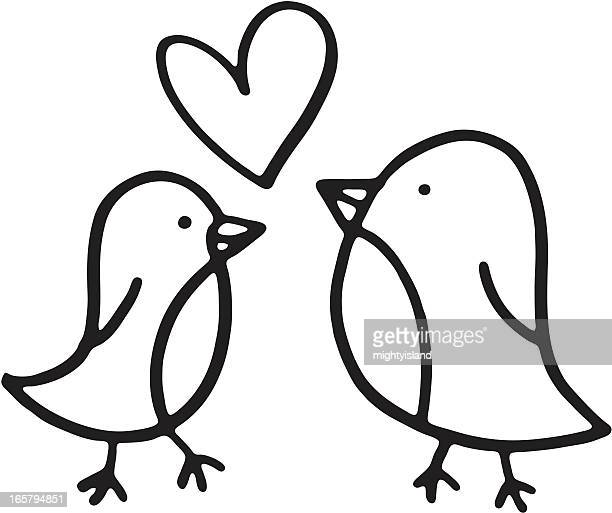 Two birds sketch with a love heart