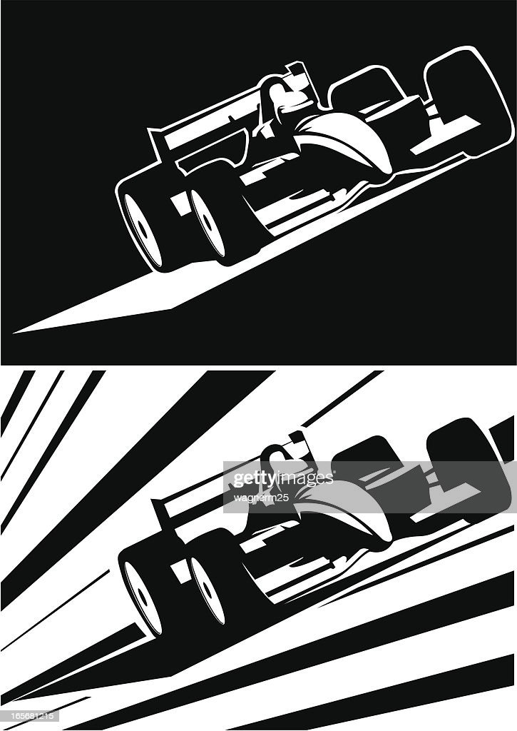 Two black and white formula one cars running : stock illustration