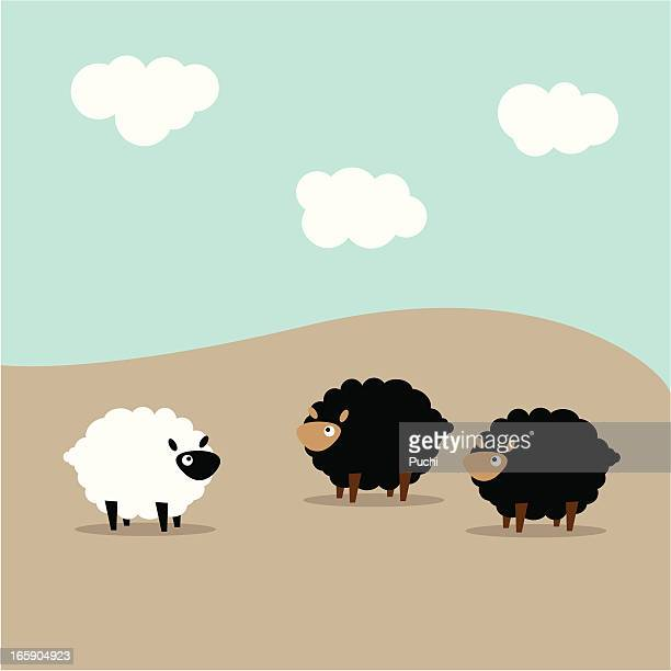 two black sheep looking at a lone white sheep - sheep stock illustrations, clip art, cartoons, & icons