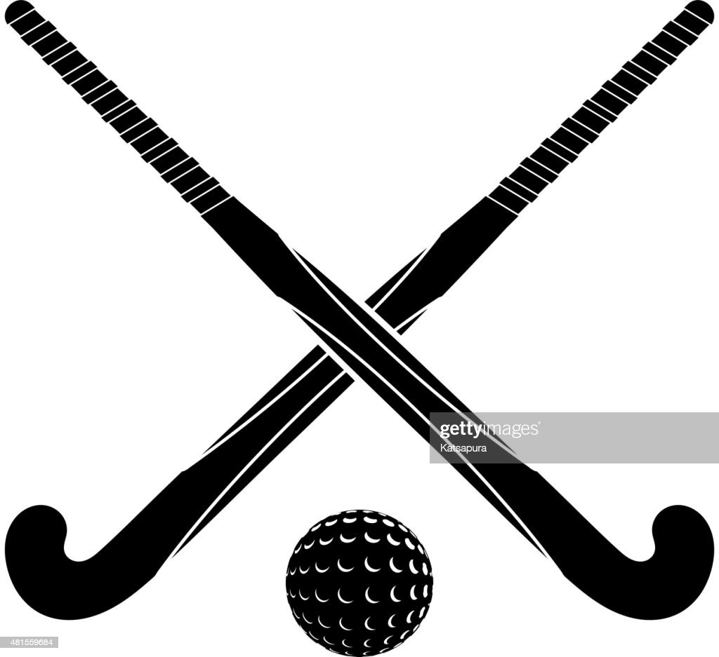Two black silhouettes sticks for field hockey and ball