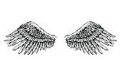 two black wide-open wings, tattoo