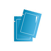 Two blank blue glossy sachets vector icon