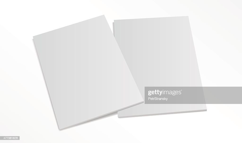 two blank magazine covers isolated on white background