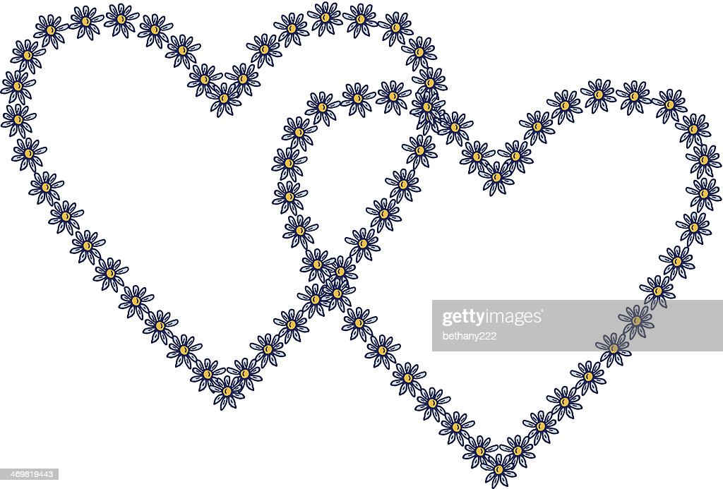 Two Blue And Yellow Daisy Flower Heart Frames On White Vector Art ...