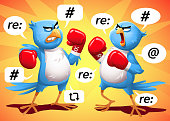 Two Blue Birds Boxing