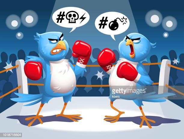 ilustrações de stock, clip art, desenhos animados e ícones de two blue birds fighting in a boxing ring - cyberbullying
