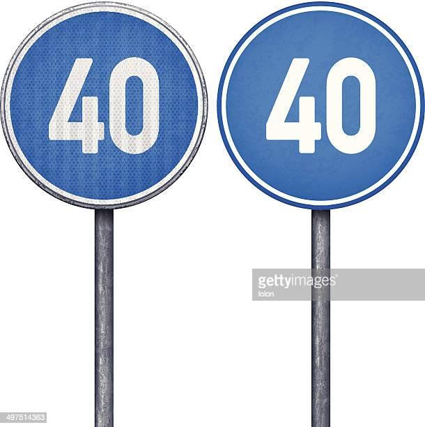 2 つの青色の最低速度制限標識 40 circular road - 数字の40点のイラスト素材/クリップアート素材/マンガ素材/アイコン素材