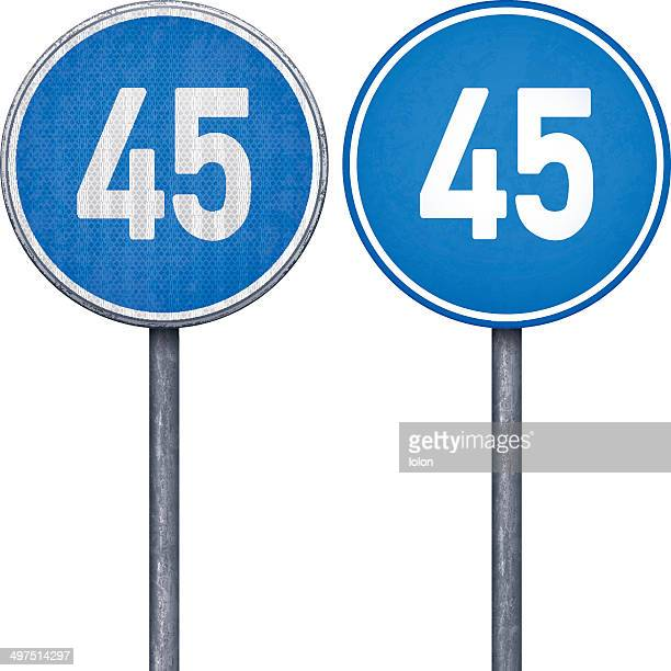 Two blue minimum speed limit 45 circular road signs