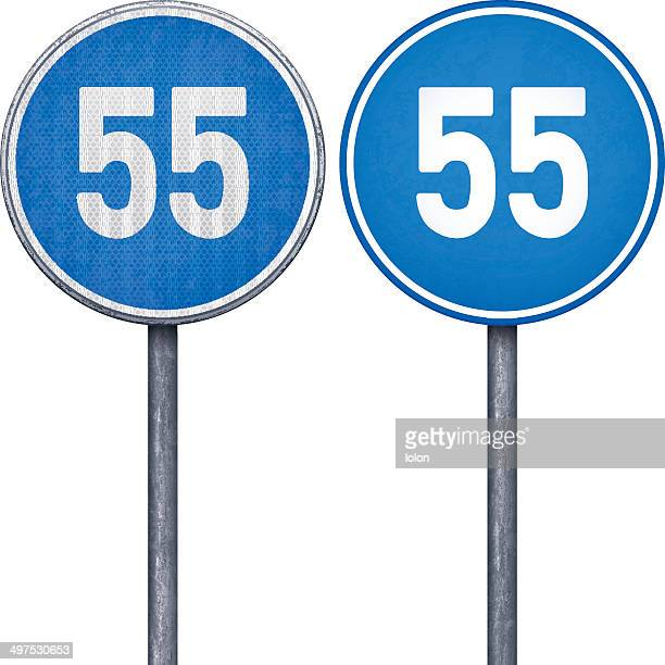 Two blue minimum speed limit 55 circular road signs