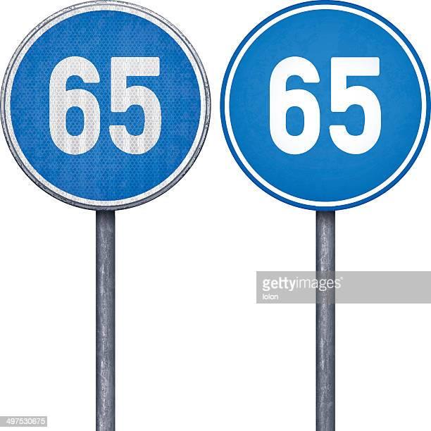 Two blue minimum speed limit 65 circular road signs