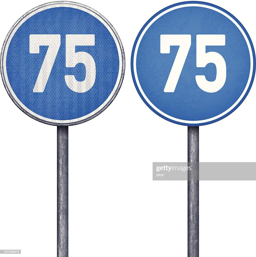 Two blue minimum speed limit 75 circular road signs : stock illustration