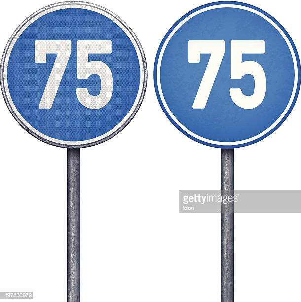 Two blue minimum speed limit 75 circular road signs