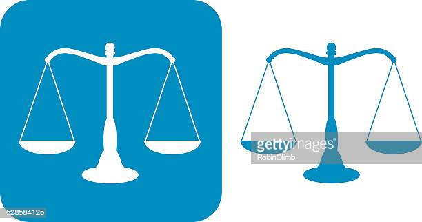 two blue scales of justice icons - scales stock illustrations