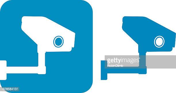 Two Blue Security Camera Icons