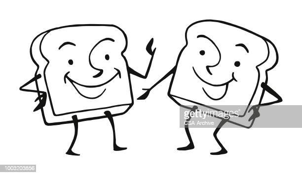 two bread characters - toast bread stock illustrations, clip art, cartoons, & icons