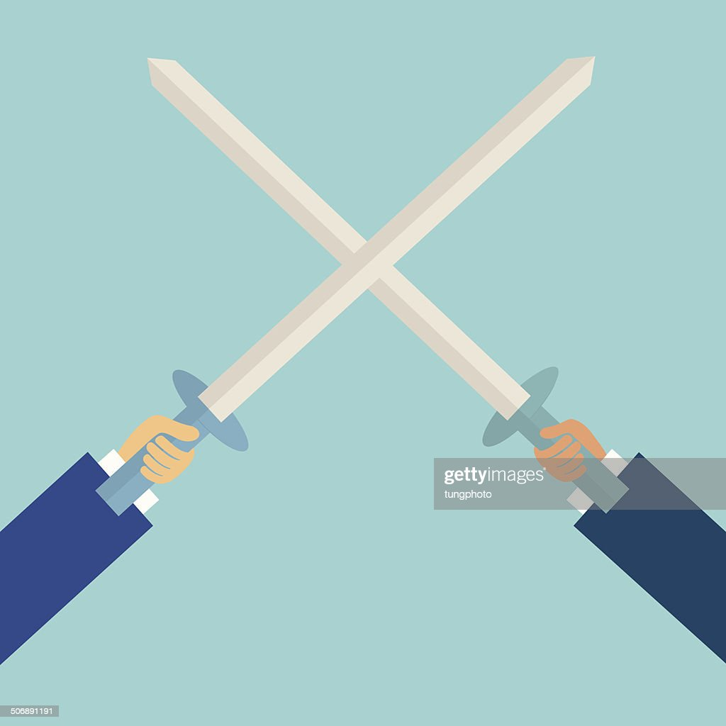two business man fighting with sword,business concept,illustration,vector