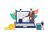 Two business partners shaking hands in big laptop. Online business, Partnership and agreement, with small employ around