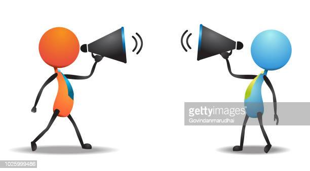 two businessman announcement into a megaphone - office fight stock illustrations, clip art, cartoons, & icons