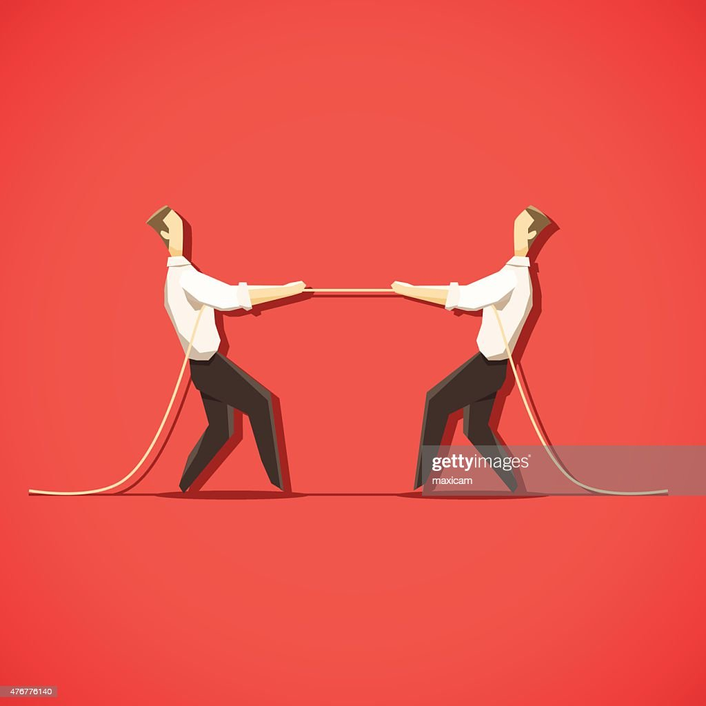 Two Businessman are pulling the rope