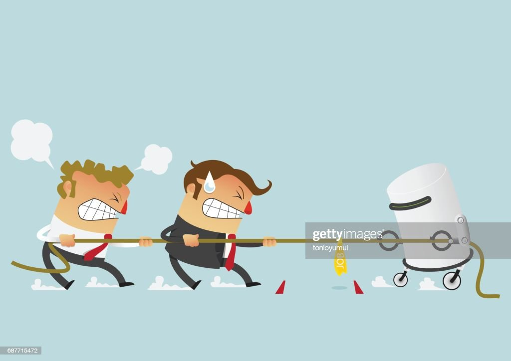 Two businessman fighting with robot in the tug of war competition that could just define their careers. Cartoon character in flat design.