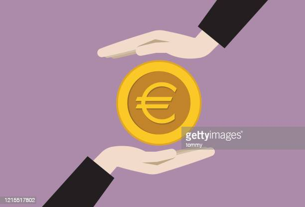 two businessman hands with a euro coin - borrowing stock illustrations