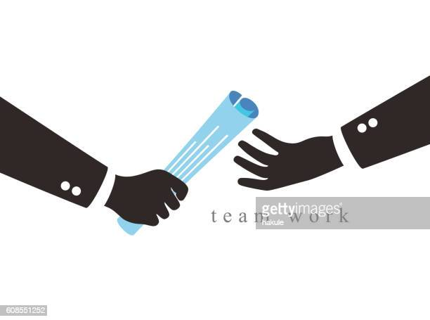 two businessman's hand passing a relay baton paper, vector illustraion - stab stock-grafiken, -clipart, -cartoons und -symbole