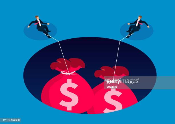 two businessmen being pulled into the cave by a heavy money bag - debt stock illustrations