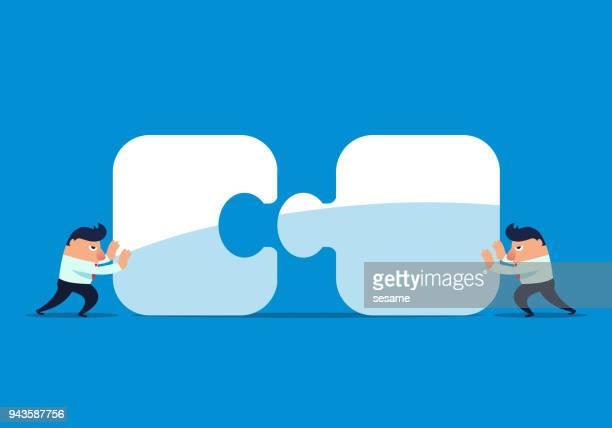 2 人のビジネスマンを組み合わせるパズル - 合併点のイラスト素材/クリップアート素材/マンガ素材/アイコン素材
