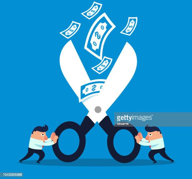 two businessmen cut off falling money with scissors - miserly stock illustrations